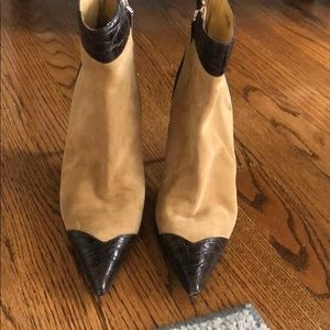 DOLCE & GABBANA sz 38. Suede and Croc Brown Boots